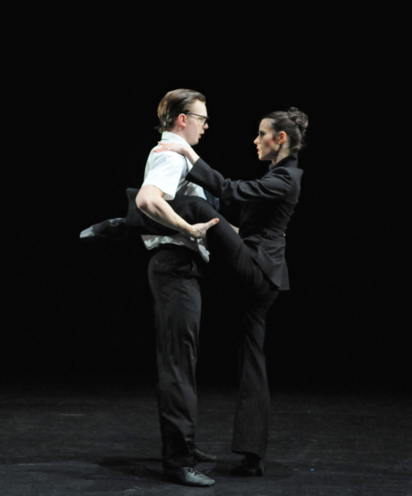 <p><em>9-5: </em>Samara Downs as the Boss and Joseph Caley as Winston</p>. Credit: Roy Smiljanic.