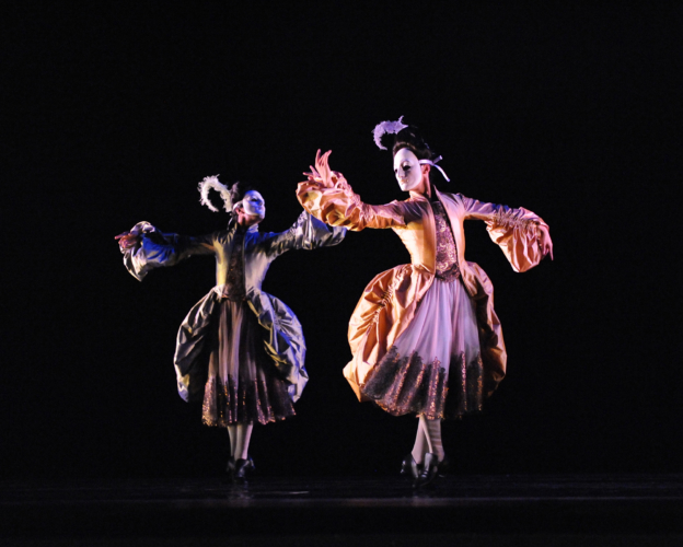 <p>The King Dances: Jonathan Caguioa and Max Maslen as Mesdames</p>. Credit: Roy Smiljanic.