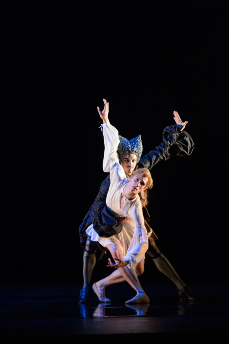 <p><em>The King Dances:</em> William Bracewell as Le Roi and Iain Mackay as La Nuit</p>. Credit: Bill Cooper.