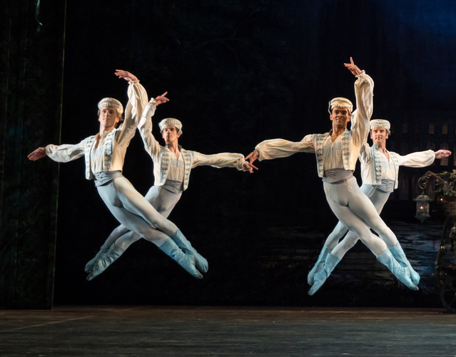 Coppélia: Feargus Campbell, William Bracewell, Brandon Lawrence and Valentin Olovyannikov in 'Call to Arms'. Credit: Andrew Ross.