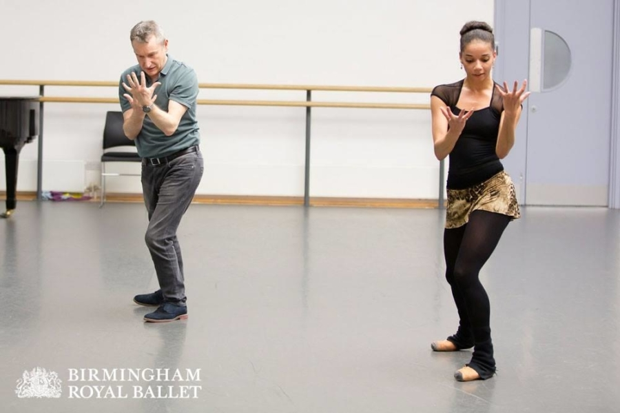 <p><em>The Shakespeare Suite: </em>David Bintley and Céline Gittens in rehearsal</p>. Credit: Andrew Ross.