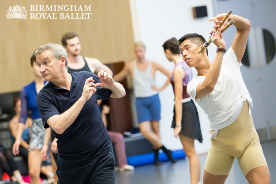 """<p>Rehearsing <em>The Tempest</em><span class=""""redactor-invisible-space"""">:</span> David Bintley and Tzu-Chao Chou</p>. Credit: Andrew Ross."""