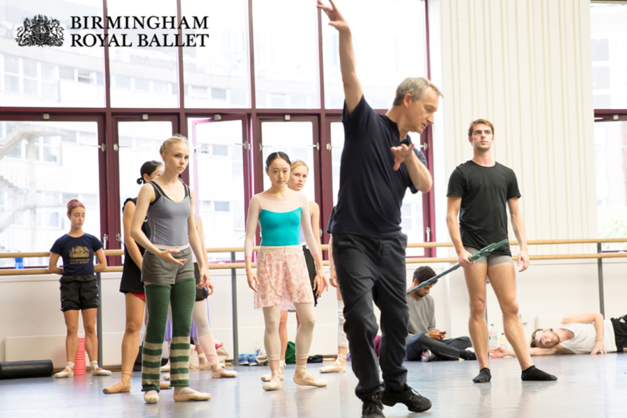 """<p>Rehearsing <em>The Tempest</em><span class=""""redactor-invisible-space"""">:</span> David Bintley with Artists of Birmingham Royal Ballet</p>. Credit: Andrew Ross."""