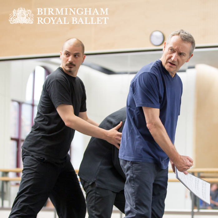 """<p>Rehearsing <em>The Tempest</em><span class=""""redactor-invisible-space"""">:</span> David Bintley, Dominic Antonucci and Michael O'Hare</p>. Credit: Andrew Ross."""