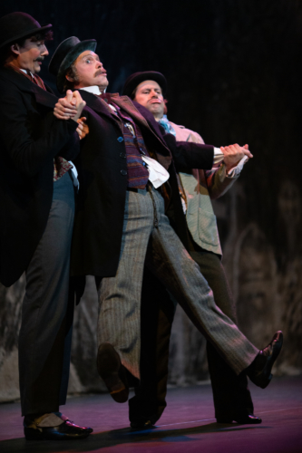 <p><em>Hobson's Choice</em>: Tom Rogers as Mr Tudsbury, Jonathan Payn as Henry Hobson and Kit Holder as Jim Heeler.</p>. Credit: Ty Singleton.
