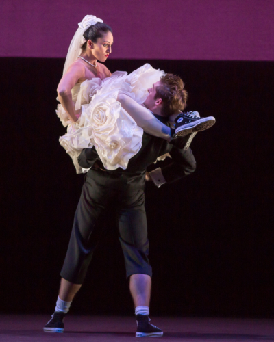 <p><em>The Shakespeare Suite</em>: Angela Paul as Kate and Lachlan Monaghan as Petruchio</p>. Credit: Andrew Ross.