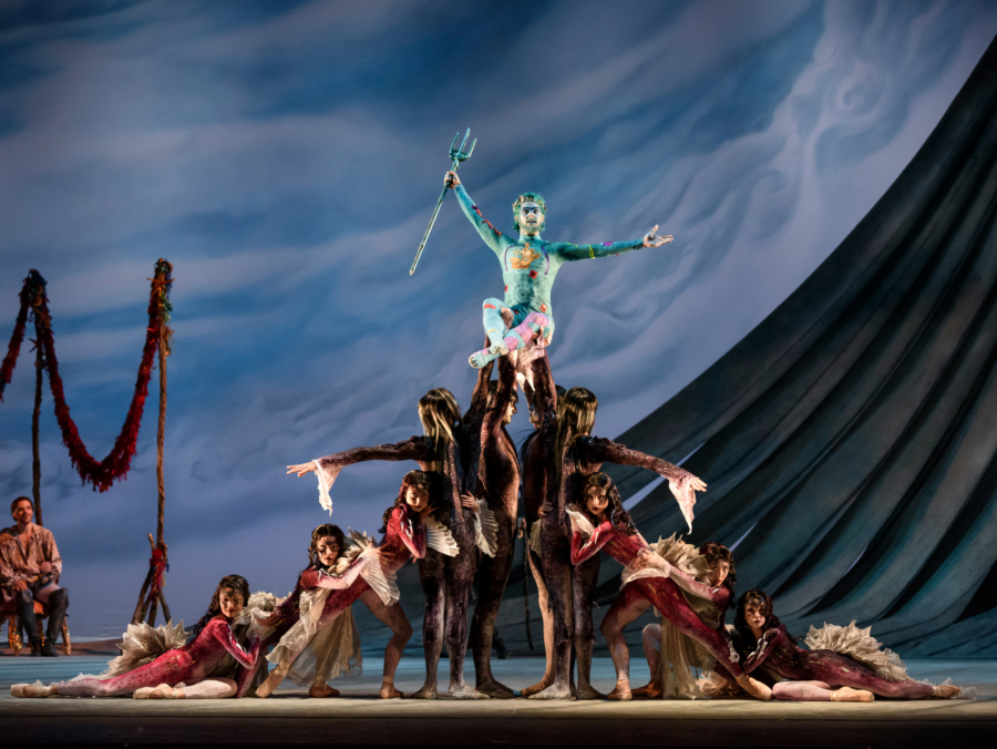 <p><em>The Tempest: </em>Lachlan Monaghan as Neptune, God of the sea, with Artists of Birmingham Royal Ballet as Sea Nymphs and Strange Fish</p>. Credit: Bill Cooper.