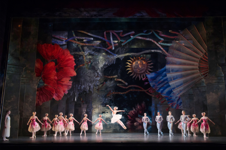 <p><em>The Nutcracker: </em>Angela Paul as the Rose Fairy with Artists of Birmingham Royal Ballet</p>. Credit: Bill Cooper.