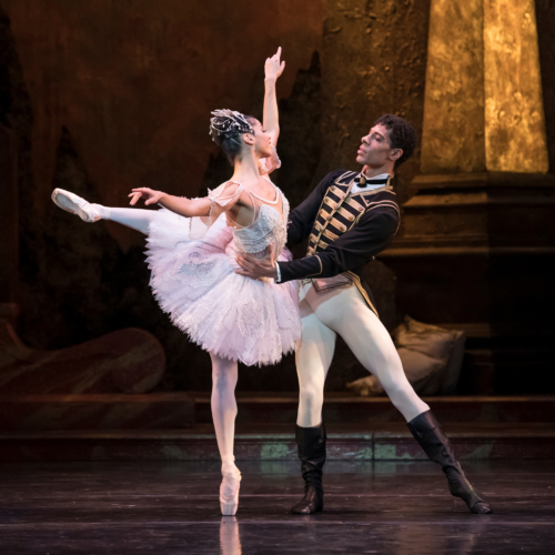 <p><em>The Sleeping Beauty: </em>Céline Gittens and Princess Aurora and Tyrone Singleton as Prince Florimund</p>. Credit: Bill Cooper.