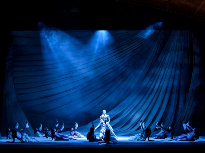 <p><em>The Tempest: </em>Mathias Dingman as Ariel, a spirit, and Joseph Caley as Ferdinand, King Alonso's son, with Artists of Birmingham Royal Ballet as Sea Nymphs and Strange Fish</p>. Credit: Bill Cooper.