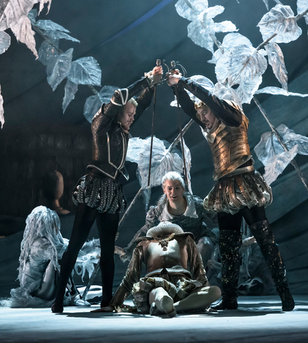 <p><em>The Tempest: </em>Lewis Turner as Sebastian, King Alonso's brother, Dominic Antonucci as Antonio, the Duke of Milan, Mathias Dingman as Ariel, a spirit, and Michael O'Hare as Alonso, the King of Naples</p>. Credit: Bill Cooper.