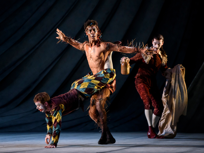 <p><em>The Tempest: </em>James Barton as Trinculo, the court jester, and Tyrone Singleton as Caliban, Prospero's slave</p>. Credit: Bill Cooper.
