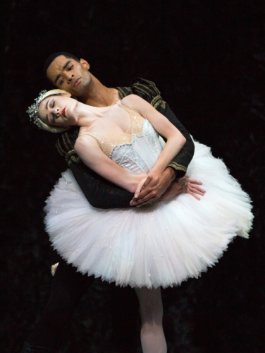 <p><em>Swan Lake:</em> Delia Mathews as Odette and Brandon Lawrence as Prince Siegfried</p>. Credit: Andrew Ross.
