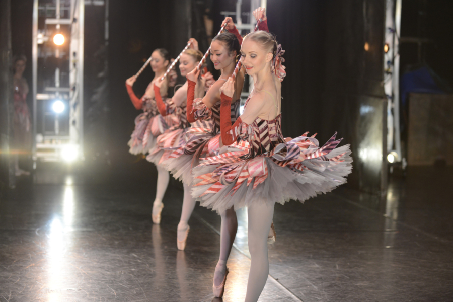 <p><em>The Nutcracker</em> from the wings: Karla Doorbar and Artists of Birmingham Royal Ballet as Mirlitons</p>. Credit: Roy Smiljanic.