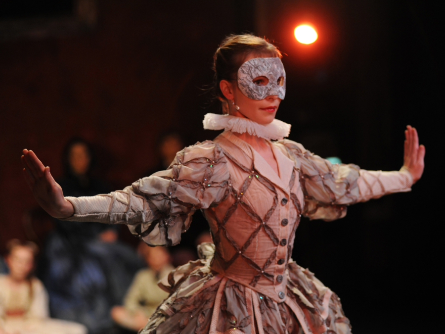 <p><em>The Nutcracker</em> from the wings: Viktoria Walton as Columbine</p>. Credit: Roy Smiljanic.