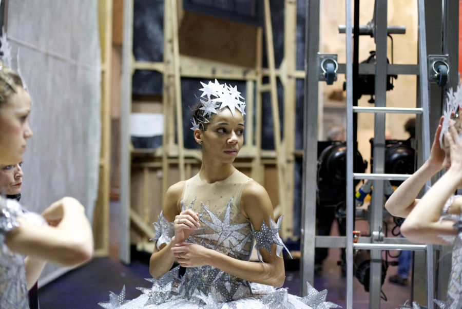 <p><em>Cinderella</em> Act I stage rehearsal from the wings: Céline Gittens as a Star</p>. Credit: Andrew Ross.