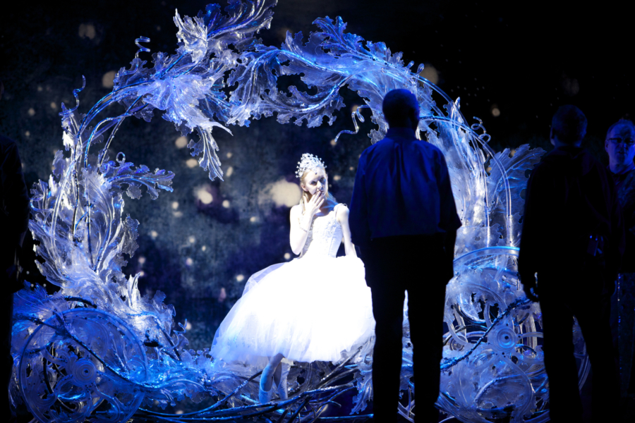 <p><em>Cinderella </em>Act I stage rehearsal: Elisha Willis as Cinderella with John Macfarlane and David Bintley</p>. Credit: Andrew Ross.