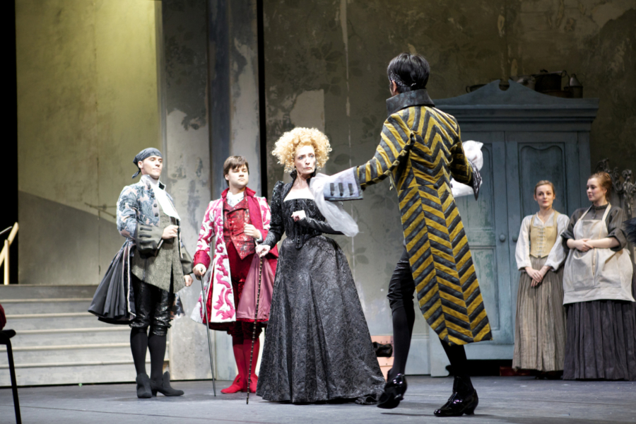 <p><em>Cinderella </em>Act I stage rehearsal: Marion Tait as the Stepmother, Robert Gravenor as the Wig Maker, Alexander Campbell as the Dancing Master and Jonathan Caguioa as the Dressmaker</p>. Credit: Andrew Ross.