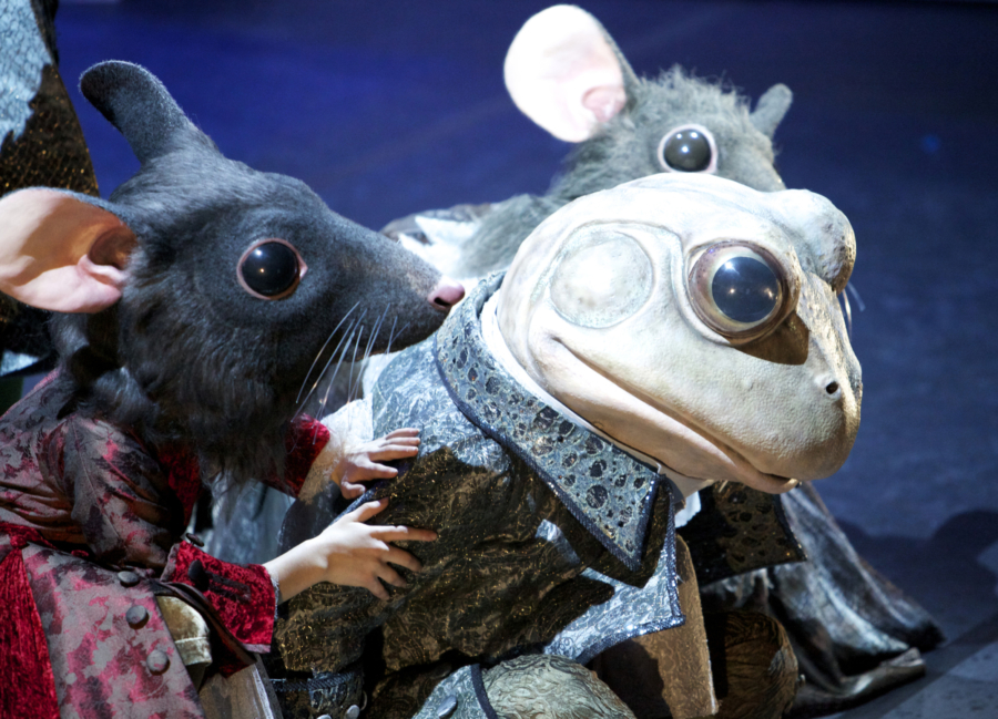 <p><em>Cinderella</em> Act I stage rehearsal: James Barton as the Frog Footman and students of Elmhurst School for Dance as Mouse Pages</p>. Credit: Andrew Ross.