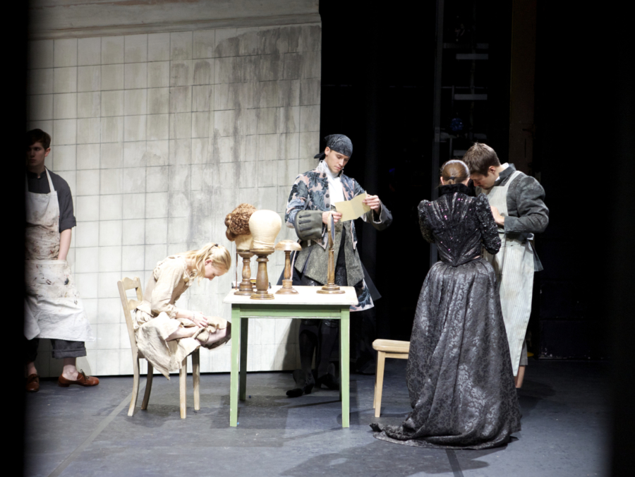 <p><em>Cinderella </em>Act I stage rehearsal from the wings: Marion Tait as the Step Mother, Elisha Willis as Cinderella, Robert Gravenor as the Hairdresser and Kit Holder as the Wig Maker</p>. Credit: Andrew Ross.