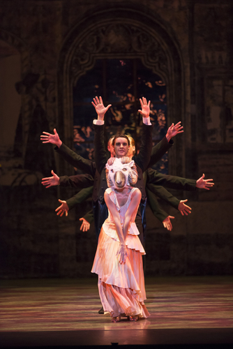 <p><em>'Still Life' at the Penguin Café: </em>Angela Paul as the Utah Longhorn Ram with Iain Mackay and Artists of Birmingham Royal Ballet</p>. Credit: Bill Cooper.