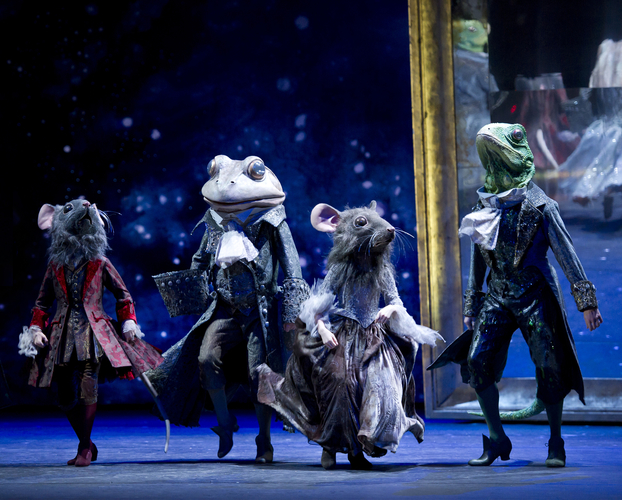"<p><em>Cinderella: </em>James Barton as the Frog Coachman, Valentin Olovyanikov as a Lizard Footman and Students of Elmhurst School for Dance as Mouse Pages<span class=""redactor-invisible-space""></span></p>. Credit: Bill Cooper."