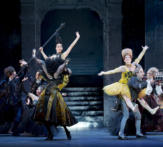 "<p><em>Cinderella: </em>Gaylene Cummerfield as Skinny, Carol-Anne Millar as Dumpy, Rory Mackay as the Major Domo and Benjamin Soerel as a Waiter with Artists of Birmingham Royal Ballet<span class=""redactor-invisible-space""></span></p>. Credit: Bill Cooper."