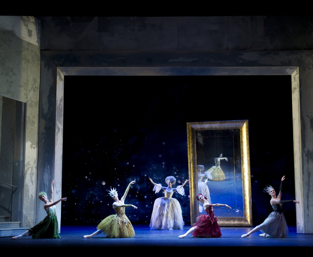 <p><em>Cinderella: </em>Momoko Hirata as Spring, Lei Zhao as Summer, Angela Paul as Autumn and Delia Mathews as Winter with Victoria Marr as the Fairy Godmother</p>. Credit: Bill Cooper.