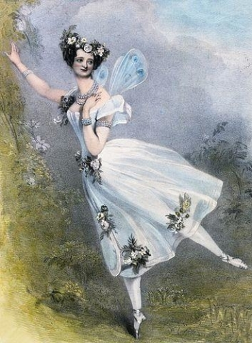 <p>Lithograph by Chalon and Lane of Marie Taglioni as Flora in Didelot's <i>Zéphire et Flore</i>. London, 1831</p>.