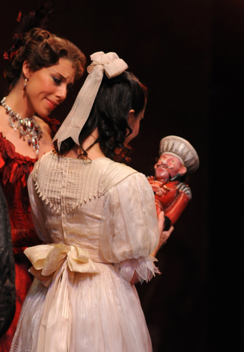 <p><em>The Nutcracker</em> from the wings: Laëtitia Lo Sardo as Clara and Victoria Marr as Mrs Stahlbaum</p>. Credit: Roy Smiljanic.