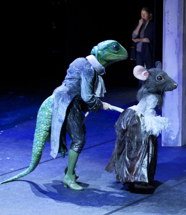 <p><em>Cinderella </em>Act I stage rehearsal: Valentin Olovyannikov as a Lizard Footman and an student of Elmhurst School for Dance as a Mouse Page</p>. Credit: Andrew Ross.