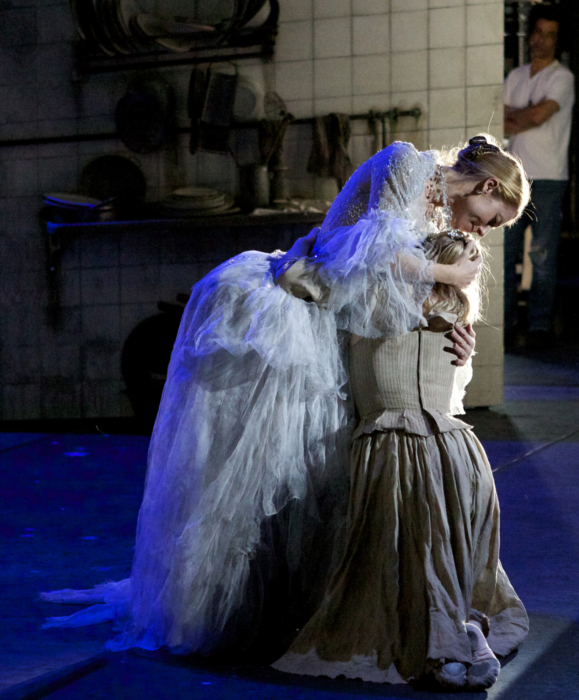 <p><em>Cinderella </em>Act I stage rehearsal from the wings: Victoria Marr as the Fairy Godmother and Elisha Willis as Cinderella</p>. Credit: Andrew Ross.